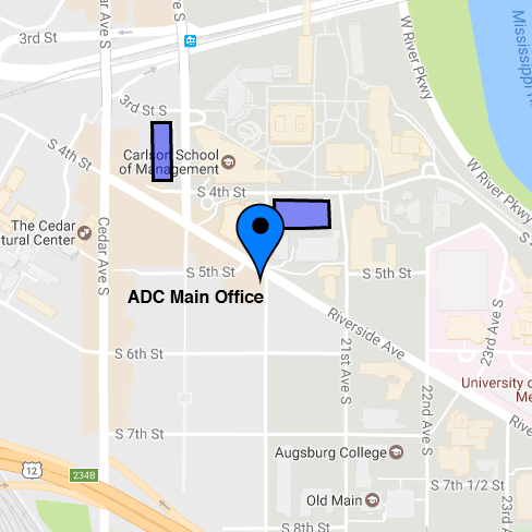 Map of ADC with indicators of parking locations