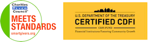 Charities Review Council Certification & US Dept. of Treasury CDFI certification logos