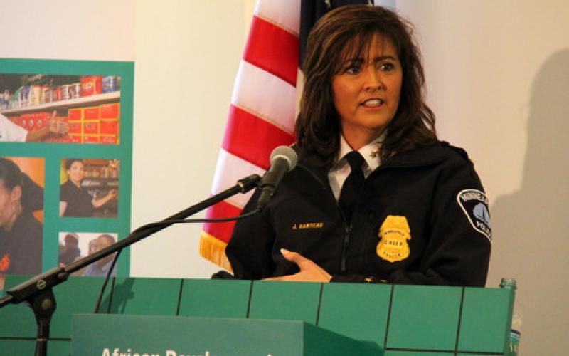 Police Chief of Minneapolis, Jeneé Harteau speaks from podium
