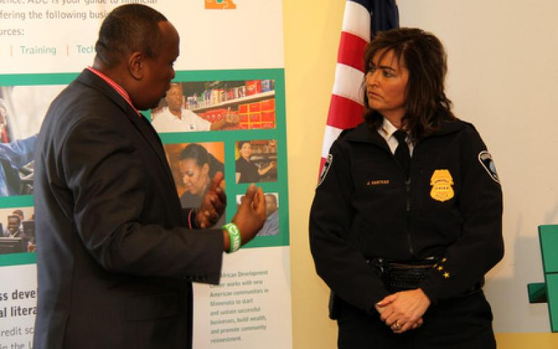 Police Chief of Minneapolis, Jeneé Harteau chats with participant