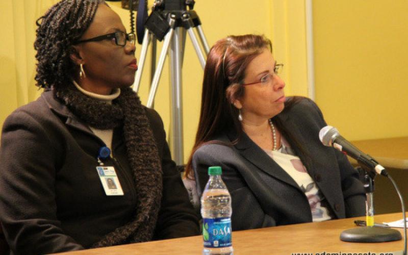 Participants listen to remarks by Valeria Sylva