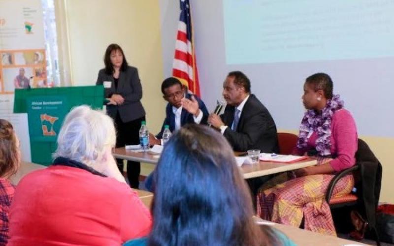 Mohamed Mohamud of the Somali American Parent Association addresses the gathering