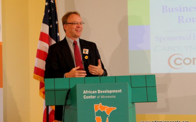 Books for Africa Executive Director Patrick Plonski speaks from the podium