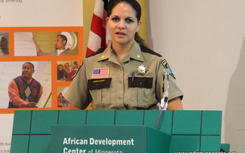 Hennepin County Sherrif's Department Major Tracey Martin speaks from the podium