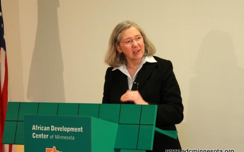 Minnesota HousingCommissioner Mary Tingerthalspeaks at the podium