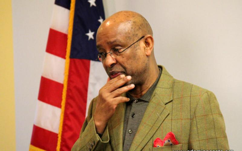Ahmed Samatar speaks at podium