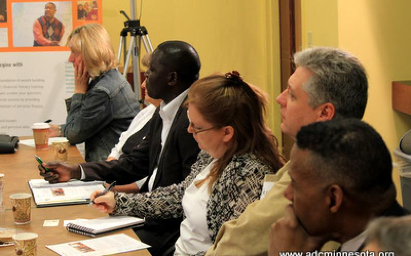 Participants listen to remarks by Eric W. Kaler